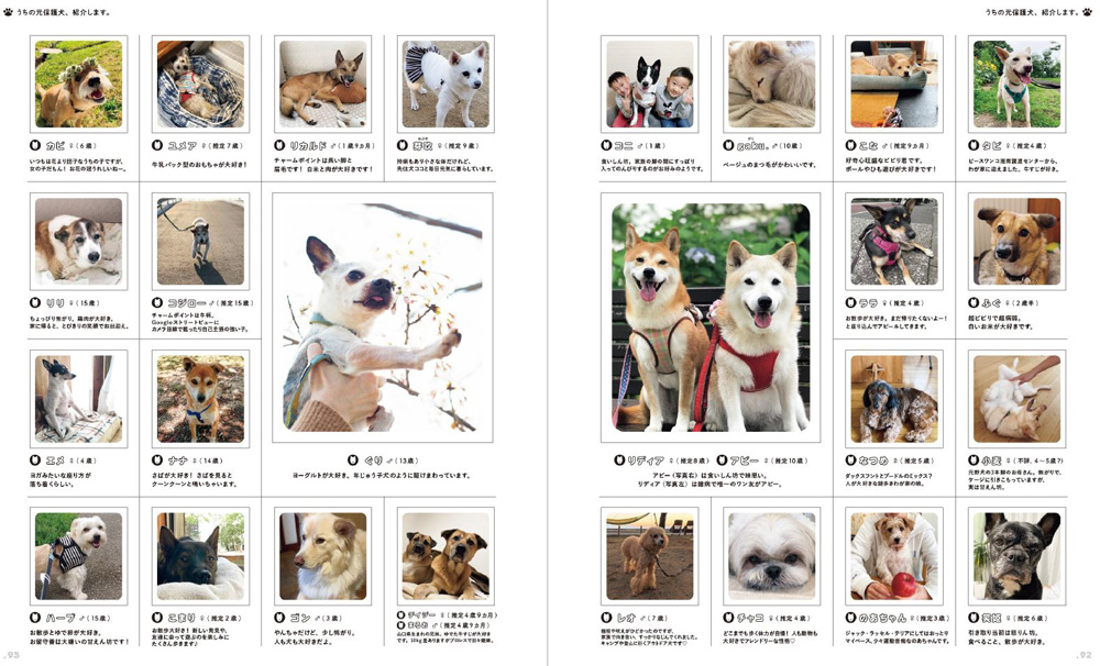"""『天然生活』読者から寄せられた「うちの元保護犬、紹介します。」というコーナーも。愛情たっぷりに育てられている""""家族""""たちが紹介されている"""